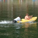 Beta testing Canoe & Kayak's new liquor powered inflatable kayak propulsion device