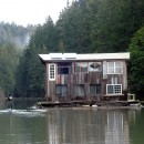 Floating house on Albion River